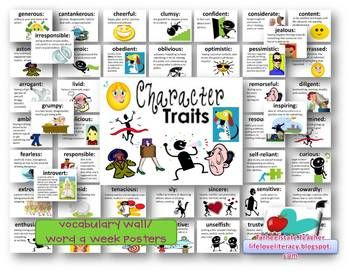 48 character trait definition cards w colorful clip art, ppt for each word (can print for class display), and a packet of vocab/reading activities...Many students lack the vocabulary necessary to be able to adequately DESCRIBE CHARACTERS. Use these definition cards to scaffold students' ability to describe characters and internalize new vocabulary. Use in guided reading,whole group, bulletin boards, create character word learning packets, independent reading, and use in lit stations.