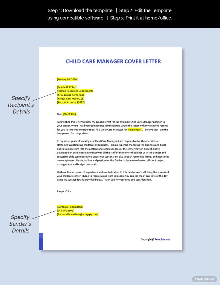 Free child care manager cover letter template ad