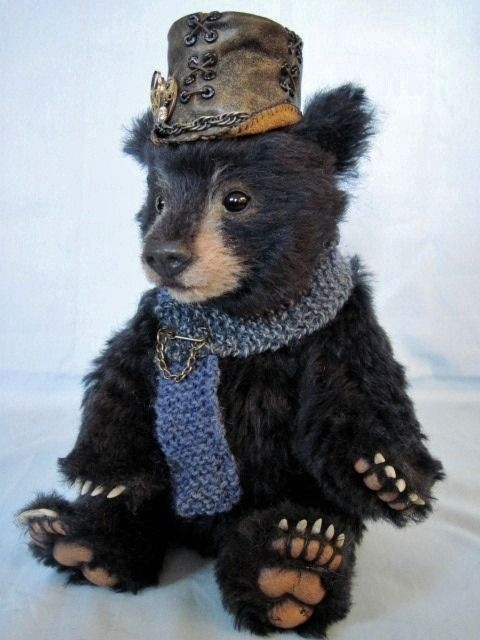 I wish I was a teddy bear that lay upon your bed, so every time you cuddled it, you cuddled me instead.  ~unknown Steampunked bear by Joanne Livingston