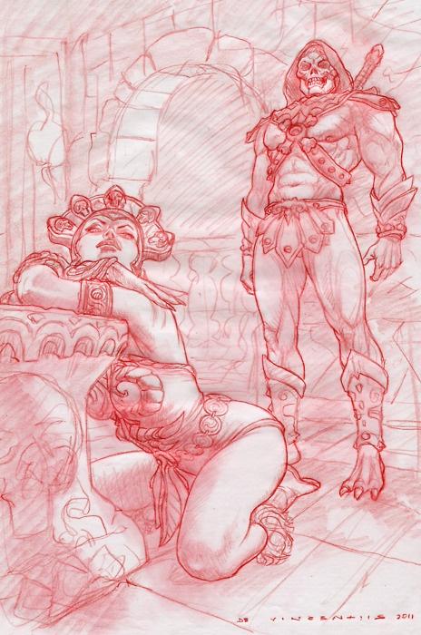 Evil Lynn and Skeletor Sketch - Adriano De Vincentiis