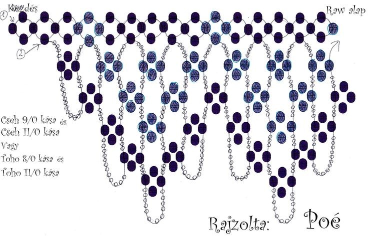 POÉ Free Necklace Pattern. Use: Czech seed beads 9/0 and 11/0 OR Toho seed beads 8/0 and 11/0. Page 2 of 2