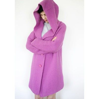 Oversized knit hoodie made from wool worsted with an addition of acrylic in colour of powder pink. Nice in touch, ideal for colder spring and summer days.