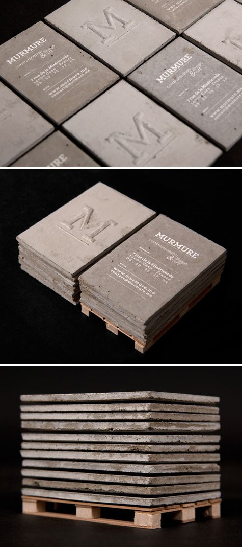 ".:* L - concrete business cards! [from designvagabond: ""Concrete business cards, designed by and for Murmure. Playing with the notion of scales, Murmure created a set of business cards made of concrete. This material, typically used for structure on a grand scale, was used instead for a small, refined and intimate tool of communication. The typography highlights the roughness of the material.""]"