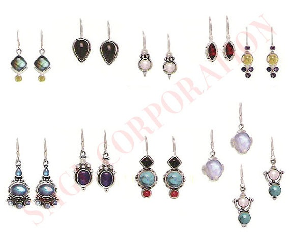 925 Sterling Silver gemstone earrings wholesale lot  $66.00