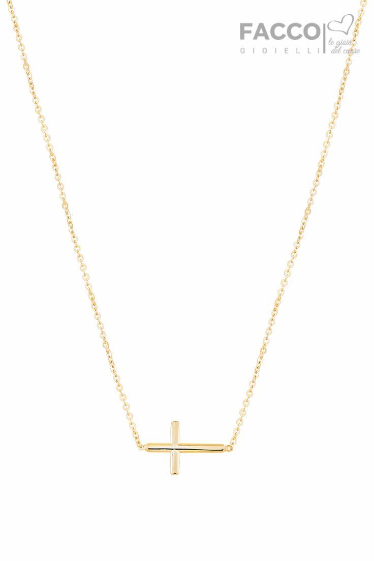 Collana donna, Facco Gioielli, in oro giallo 750‰, con croce.