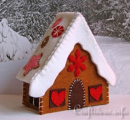 Gingerbread House from felt. Instructions with pattern: http://www.craftideas.info/html/felt_gingerbread_house_c.html