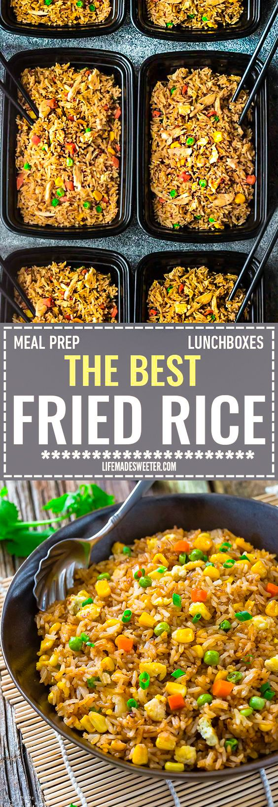 Absolutely the BEST Chinese Fried Rice - the perfect easy weeknight dish. With the most authentic flavors! My father was the head chef at a top Hong Kong Chinese restaurant and this was his specialty! So delicious and way better than any takeout! Plus a step-by-step video! Make it on Sunday for weekly meal prep for or leftovers are great for school lunchboxes or work lunch bowls.