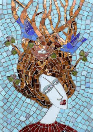 irina charny mosaics images | Birds in Hair Miniature | Irina Charny Mosaics