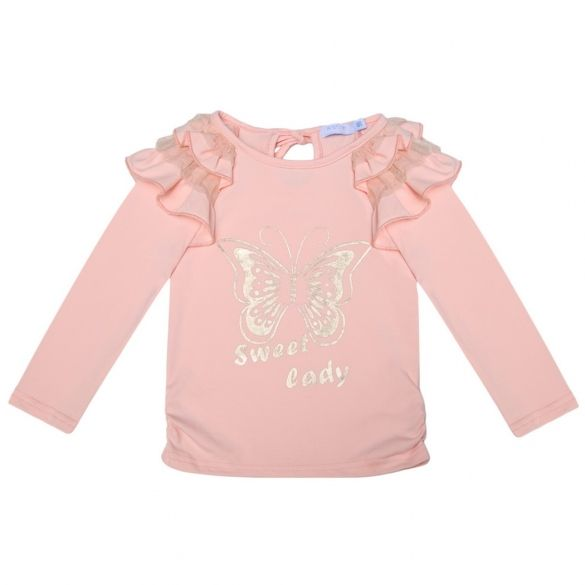 Arshiner Childern Girls Tops Insect Letters Print Ruffle Shoulder Long Sleeve Blouse $15.72 Free Shipping!