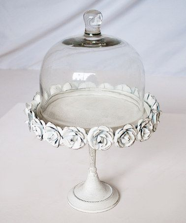 White Metallic Cake Stand \u0026 Glass Dome by Modelli Creations & 40 best Cake stand images on Pinterest | Cake plates Porcelain and ...