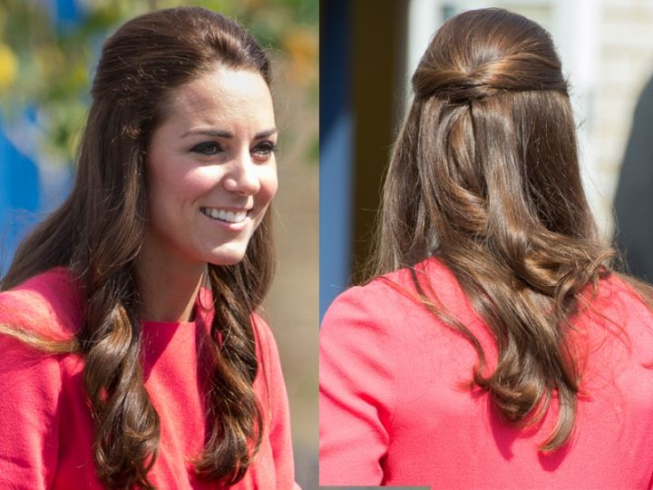 Acconciature capelli lunghi Kate Middleton: piccolo tochon legati dietro