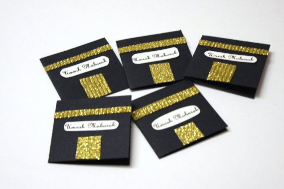 Black and Gold umrah cards hajj mubarak umra by HafsaCreates