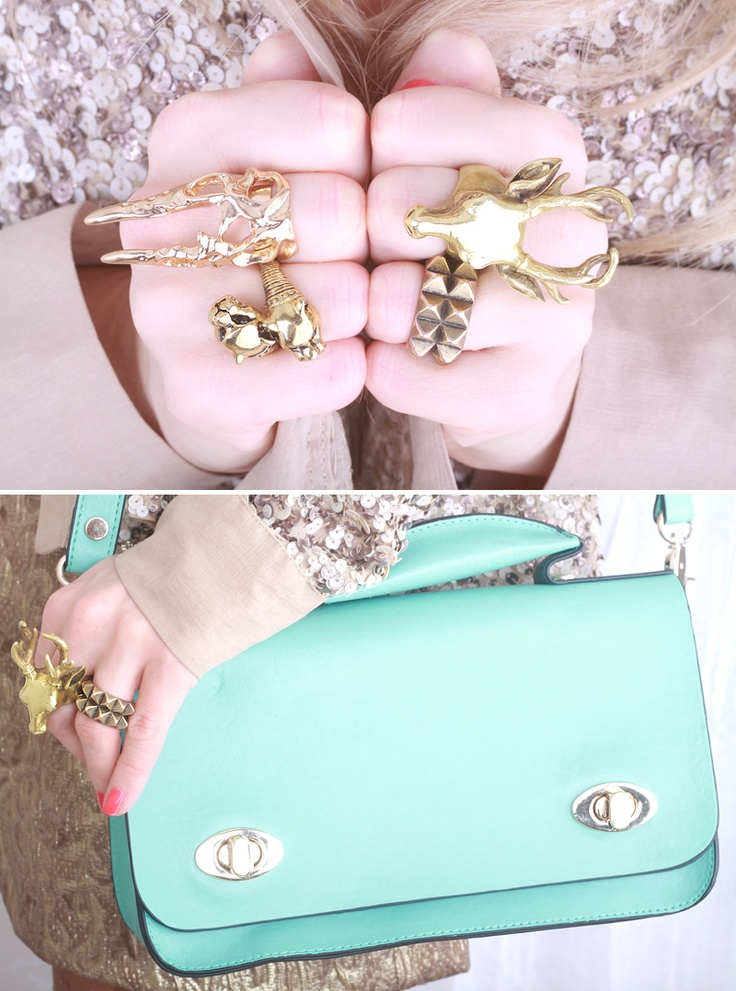 Mint green and gold
