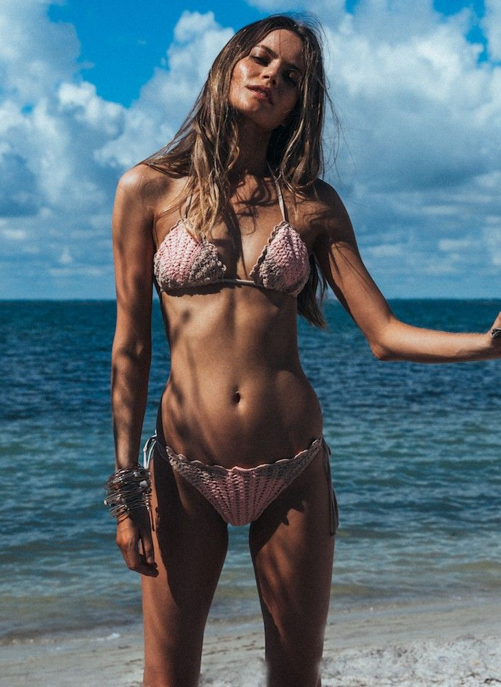 Lolli Swim Sea Shell Top & My Bell Bottom in Pearl Pink | Nic del Mar