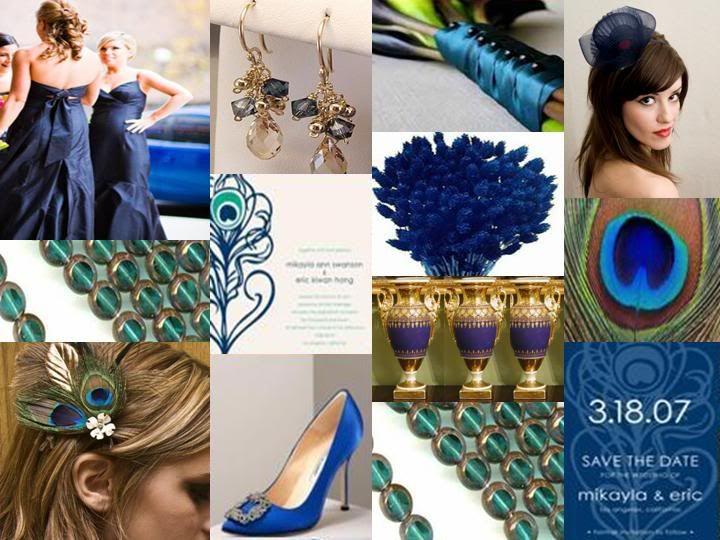 Navy Blue Teal Amp Gold Peacock Wedding