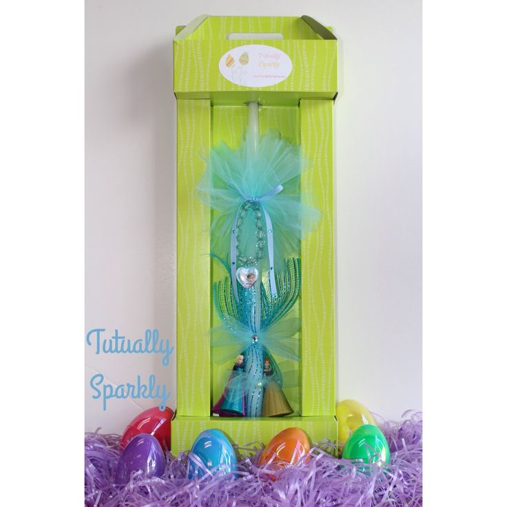 Greek Easter candle Lambatha to a godchild from their godparent! Frozen themed Easter candle with a pretty bracelet and Elsa and Anna figurine. Etsy link for purchase https://www.etsy.com/listing/226757351/greek-easter-candle-easter-lambatha