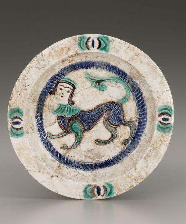 Plate mid 12th century Saljuq period Glazed clay W: 23.2 cm Iran
