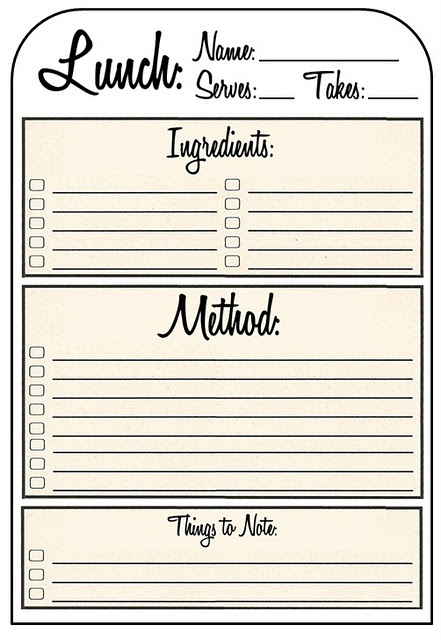 47 best Recipe cards images on Pinterest Printable recipe cards - lunch ticket template