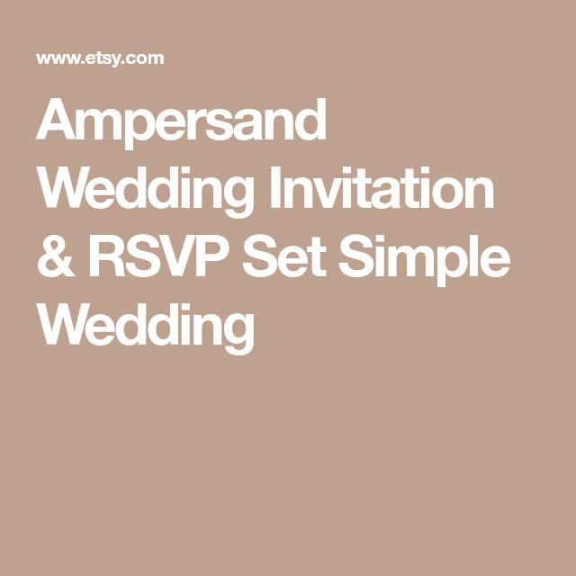 Ampersand Wedding Invitation & RSVP Set Simple Wedding