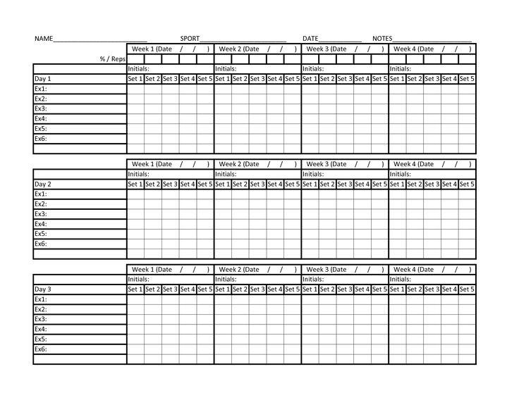 Workout Chart Excel  NinjaTurtletechrepairsCo