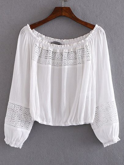 White Boat Neck Elastic Cuff Crochet Blouse.                                                                                                                                                                                 Mais
