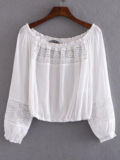 Blusa escote barco crochet -blanco-Spanish SheIn(Sheinside)                                                                                                                                                                                 Más