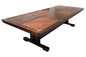 The FLETCHER dining table is a truly magnificent piece of furniture. Grand, impressive and truly unique, FLETCHER features the signature JIMMY POSSUM pane
