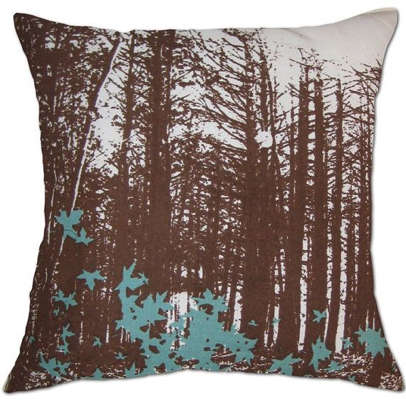 forest brown & blue cushion cover by CushionTemple on Etsy, $23.00