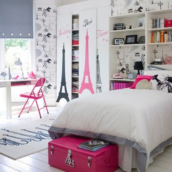 Modern Paris themed girls bedroom: