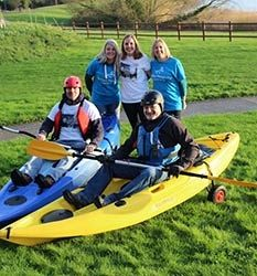 Our Kayakers! Kayaking across waters to make it to a chosen destination.   Radar & Bootsie from Milton Keynes kayaked from MK Stadium all the way to Fulham FC in time for the MK Dons V Fulham match in April. Incredible!
