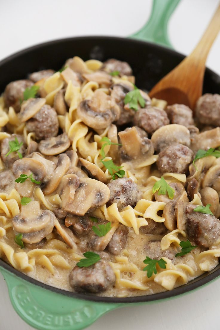 Creamy Mushroom Meatball Stroganoff – Super creamy stroganoff with fresh mushrooms and hearty meatballs, made easily from scratch! Thecomfortofcooking.com