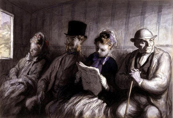 혁명을 비판하고 풍자하는 회화: <일등열차, 오노레 도미에> 오노레 도미에는 날카로운 풍자와 따뜻한 인간애를 동시에 가진 화가로 1863년 삼등열차, 1864년 일등열차를 차례로 그렸다.