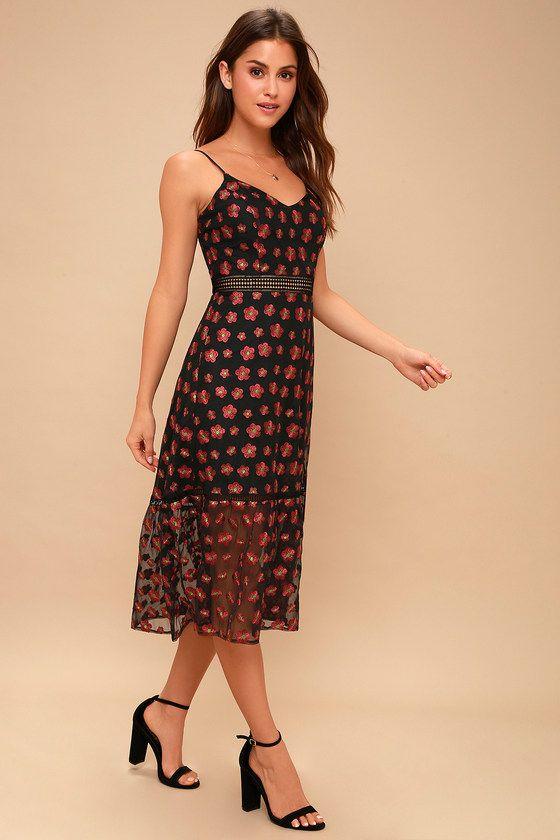 1f1b63113c0 Jack by BB Dakota Magic Hour Dress - Black Floral Midi Dress