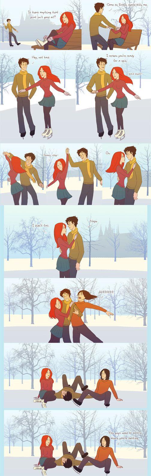 Skating by =julvett on deviantART kmg in love it!! Haha and Sirius lol to cute:)