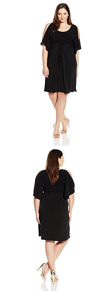 Star Vixen Women's Plus-Size Slit Flutter Sleeve Empire Drawstring Waist Dress, Black, 1X