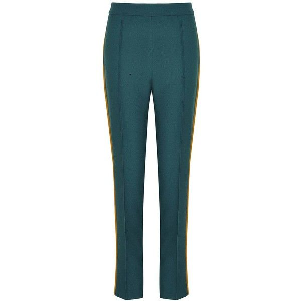 Hebe Studio - The Hebe Suit Dark Green Smoking Pants (915 RON) ❤ liked on Polyvore featuring pants, zipper trousers, zip pants, rayon pants, blue trousers and viscose pants