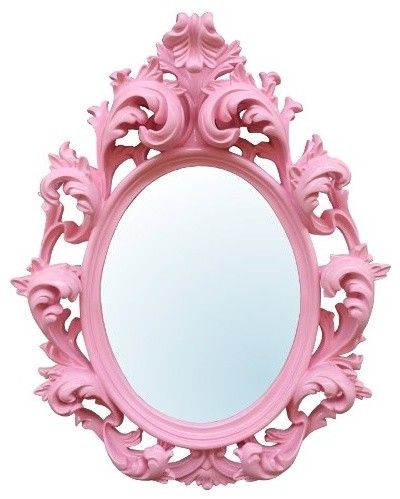 Pink ornate Mirrior - want this in our bath room - Pink Mirror. http://weheartit.com