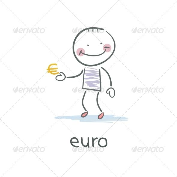 Man Holding Euro Sign. Illustration