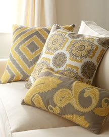 """Dijon Pillows"" (Grey, white, and mustard yellow decorative pillows)"