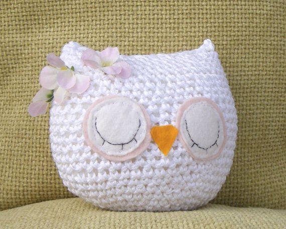owl plush white 100 cotton amigurumi sleepy
