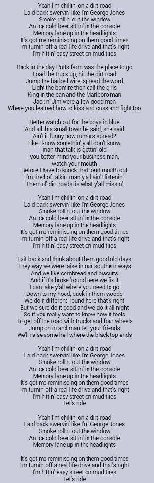 17 Best ideas about Dirt Road Anthem Lyrics on Pinterest  : 8a5e89b2e4d092313b2d2cb8e03ea335 from www.pinterest.com size 315 x 989 jpeg 80kB