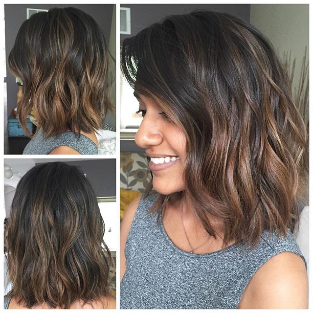 Chi Diep: Cut off over 6 inches of Anita's hair and gave her an a-line bob. Balayaged and then toned with a soft ...