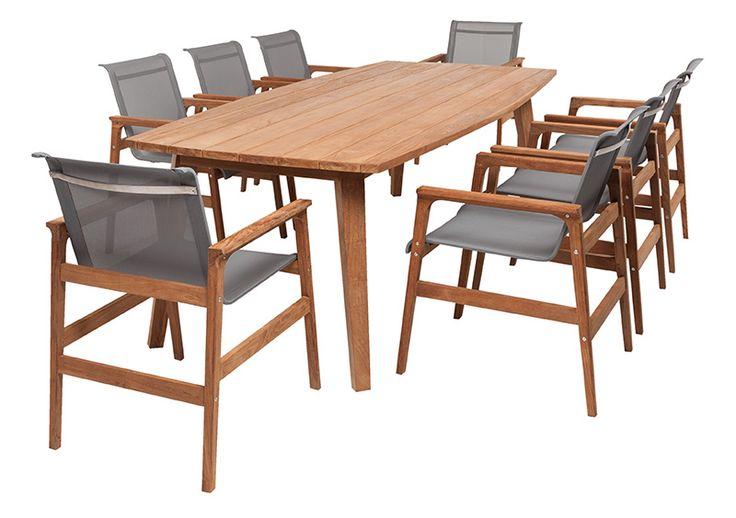 9pce Romana 2.35 x 1.1m & Lux Teak/Steel - The Outdoor Furniture Specialists