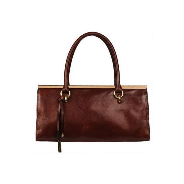 Wilsons Leather Roma Leather Satchel w/ Bar - Satchels - Handbags -... (11.320 RUB) ❤ liked on Polyvore featuring bags, handbags, brown purse, leather satchel purse, brown satchel handbag, brown leather handbags and brown satchel purse