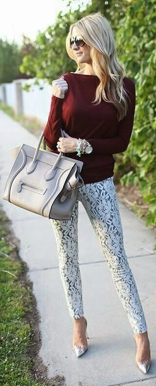 Love this combo! lace patterned pants + oxblood sweater // winter fashion