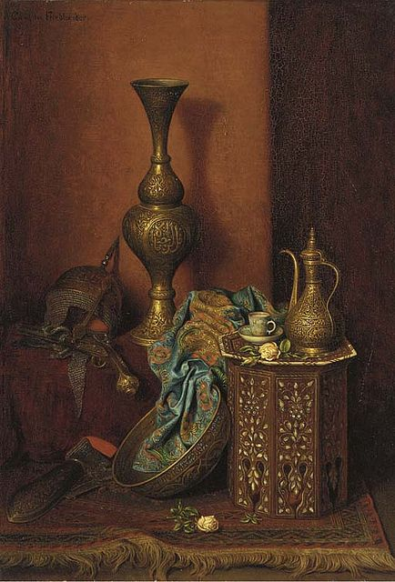 """Some common Arab household items of the 1800s ... commonly known as art of """"Arab still life"""" .. whatever that means. Artist Camilla Edle von Malheim Friedläender."""