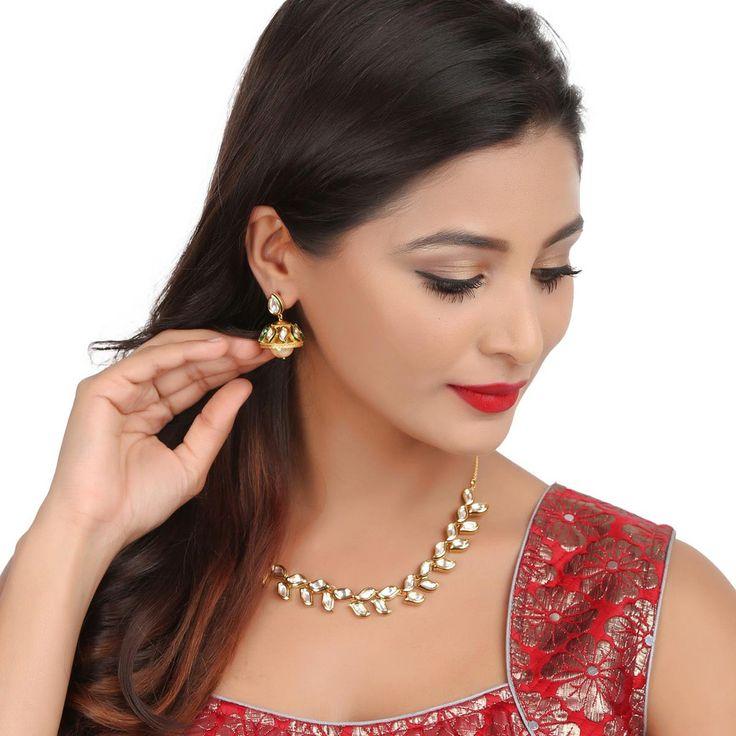 Kundan Necklace TAK45 #Kushals #Jewellery #Fashion #Indian #Jewellery #Necklace #Earrings #Designer #Fashion #choker #chain #Kundan
