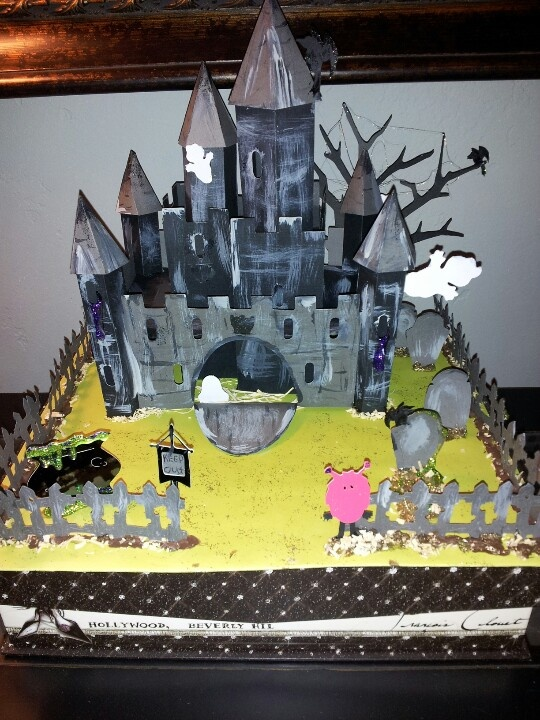 haunted castle made with the once upon a princess cricut cartridge cricut