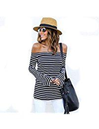 New Jevole Women's Off Shoulder Top Casual Loose Blouse Long Sleeve Strapless Stripe Tops online. Find the perfect Grabsa Tops-Tees from top store. Sku PNKL63676VRWZ76585