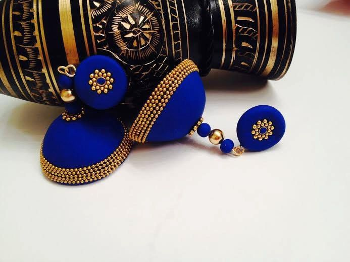 Traditional Indian handmade polymer clay jhumka/ by Vibgyour, $20.00